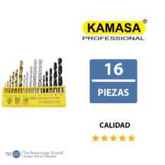 JUEGO DE BROCAS FIERRO CONCRETO 16 PZA KAMASA