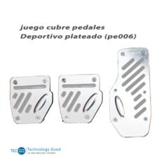 JUEGO CUBRE PEDALES DEPORTIVO PLATEADO (PE006)